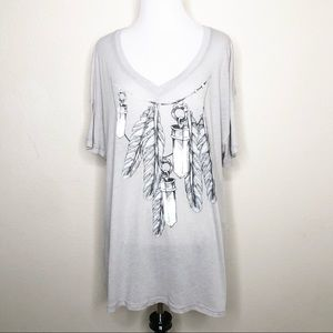 NEW Wildfox Soft Heathered Gray Oversized Shirt